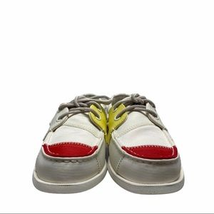 Sperry Womens A/O 2-Eye Bionic Boat Shoe Wht/Nvy/Y
